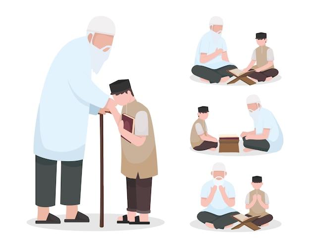 Islamic people character collection mit altem mann oder großvater, der dem jungen den koran lehrt