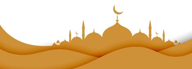 Islamisch mit moschee im papierstilentwurf