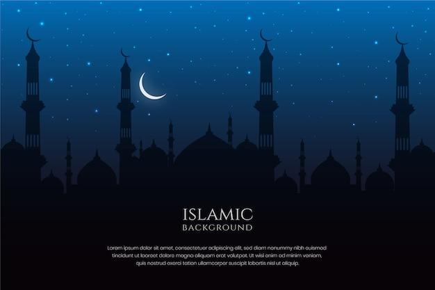 Islamische architektur moschee silhouette nachthimmel und halbmond hintergrund