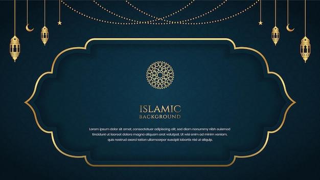 Islamische elegante hintergrundschablonendesign mit dekorativem goldenen ornamentrahmen