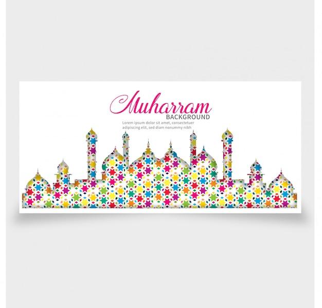 Islamische fahne der muharram-monats-schablone