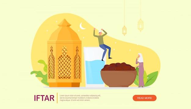 Islamische familie iftar, die nach fastender zielseite isst