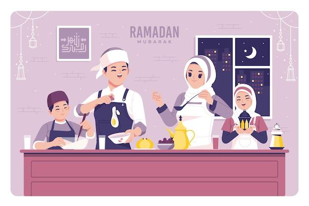 Islamische familie ramadan festival illustration hintergrund