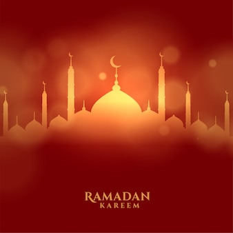 Islamische festivalkarte ramadan kareem mit glühender moschee
