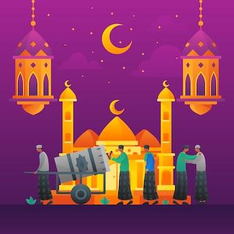 Islamische flache illustrationsmoschee und leuteunterhaltung