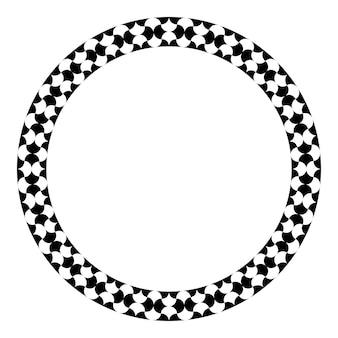 Islamische geometrische figuren verzieren runden rahmen. arabische kreisgrenze. vektor und abbildung.