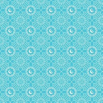 Islamische geometrische nahtlose musterhintergrundschablone mit halbmond und stern auf ihm