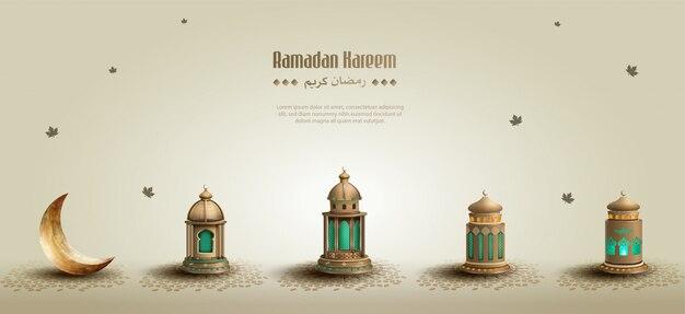 Islamische grüße ramadan kareem hintergrund mit schönen laternen und halbmond