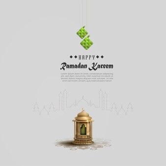 Islamische grüße ramadan kareem kartenentwurf mit goldlaterne