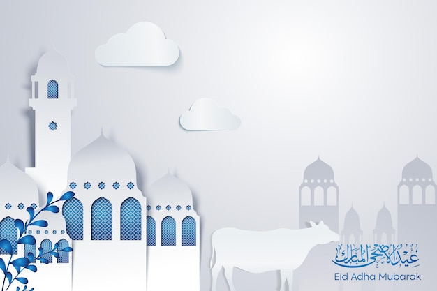 Islamische grußfeier der weißen moschee mit kuhillustration für eid adha mubarak