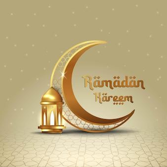 Islamische grußkarte des ramadan kareem mit halbmond und laterne mit arabischer kalligraphie