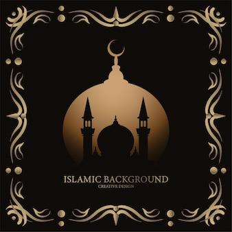 Islamische grußkarte mit verzierung oder blumenrahmenentwurfshintergrund schwarz und goldfarbe.