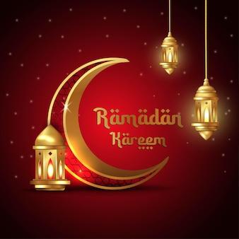 Islamische grußkarte ramadan kareem mit halbmond und laterne mit arabischem muster und kalligraphie