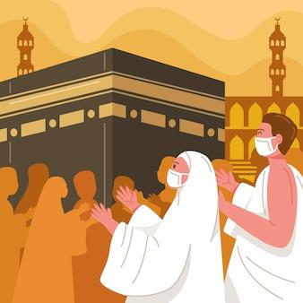 Islamische hadsch-pilgerillustration