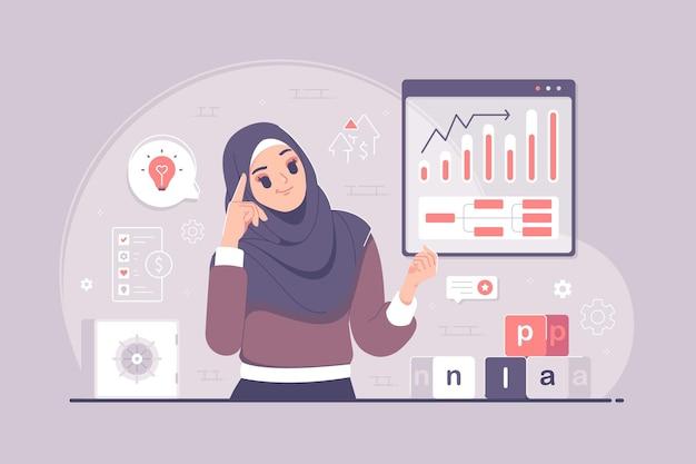 Islamische hijab-mädchen, die über zukünftige plankonzeptillustration nachdenken