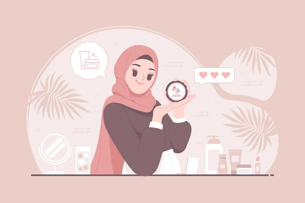 Islamische hijab-mädchenproduktbotschafter-charakterkonzeptillustration