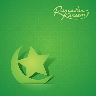 Islamische ikone halbmond und stern ramadan background