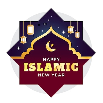Islamische illustration des neuen jahres mit farbverlauf