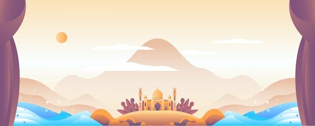Islamische illustrationslandschaft