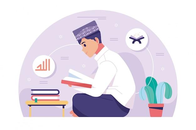 Islamische jungenfigur, die koran liest