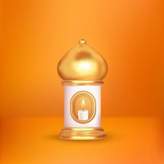 Islamische kerzenlaterne 3d auf weißem orangefarbenem displayhintergrund