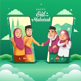 Islamische menschen begrüßen mit telefonkonferenz in holiday ramadan version drei.