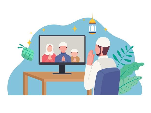 Islamische menschen grüßen mit telefonkonferenz im urlaub eid mubarak. illustration in einem flachen stil