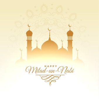 Islamische milad un nabi festivalkarte mit moscheendesign