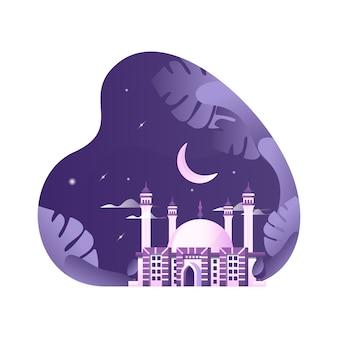 Islamische moschee bei nacht illustration