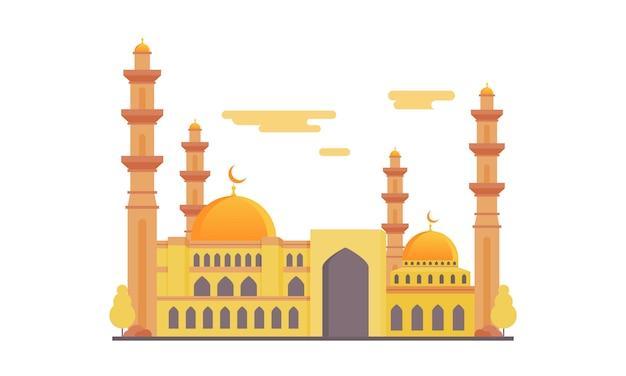 Islamische moschee, die flache design-illustration errichtet