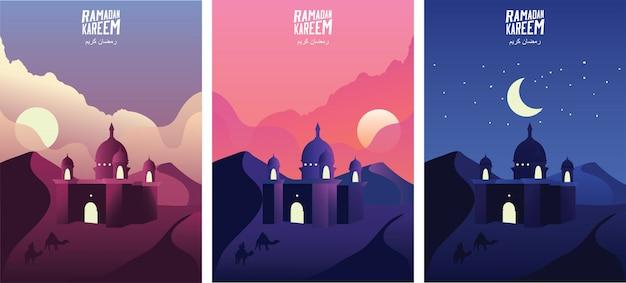 Islamische moschee im wüstensand bei sonnenaufgang, sonnenuntergang und nacht. ramadan kareem-grußfahnen stellte schablonenvektorillustration ein. - vektor