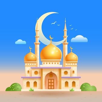 Islamische moschee ramadan feiertag islam gebäude im islam flache illustration auf weiß