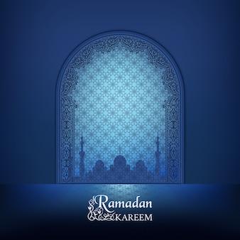 Islamische moscheetür, silhouette einer moschee mit reflexion. dunkelblaues dekor der arabischen zierkontur.