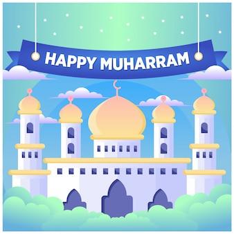 Islamische neujahrs- / muharram-grußkarte