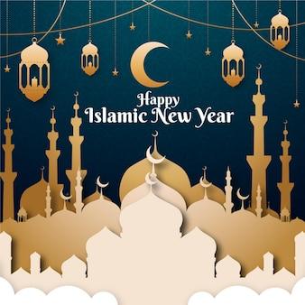 Islamische neujahrsillustration im papierstil