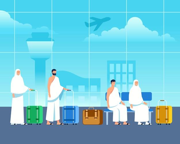Islamische pilger warten auf abflug am flughafen