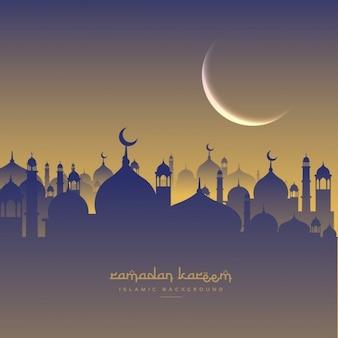 Islamische ramadan-festival mit mond und masjid