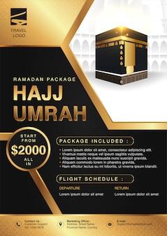 Islamische ramadan hajj & umrah broschüre oder flyer vorlage hintergrund design mit betenden händen und mekka illustration in 3d realistischen design.