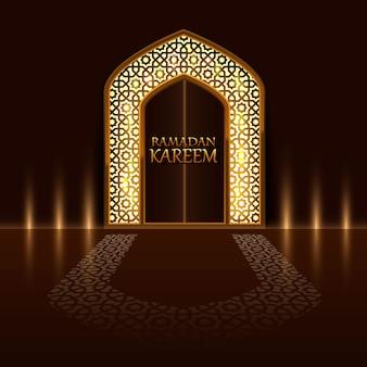 Islamische tür der moschee, abdeckung von ramadan kareem. vektor-illustration