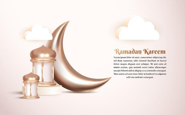 Islamischer 3d-grußhintergrund des ramadan kareem mit luxushalbmond und arabischer laterne