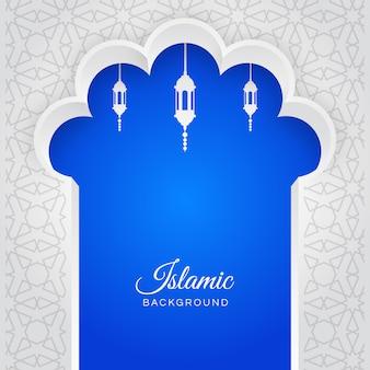 Islamischer arabischer blau-weißer hintergrund mit ornamenten, eid al-fitr mubarak-grüße