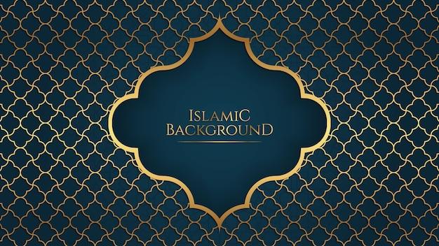 Islamischer arabischer eleganter hintergrund mit blauem goldenem ornamentrahmen