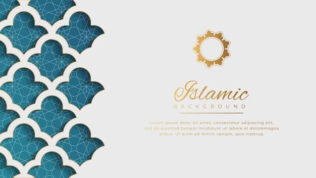 Islamischer arabischer weißer luxus-arabesken-musterhintergrund mit eleganter goldener grenze