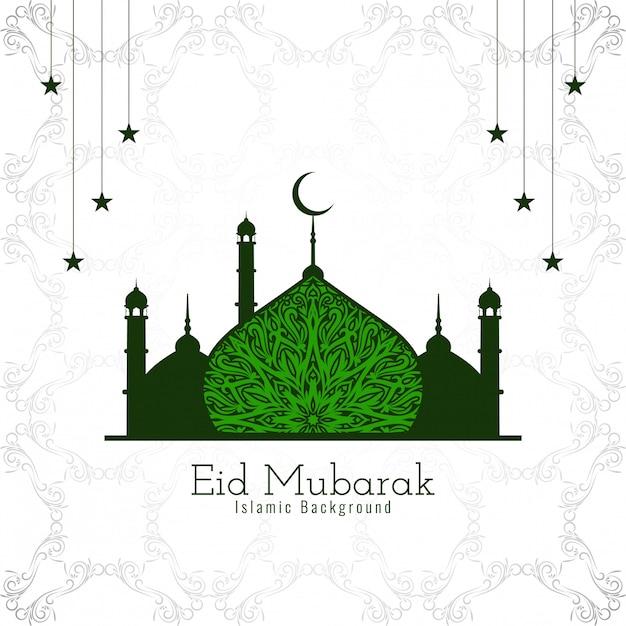Islamischer entwurf eid mubaraks mit schöner grüner moschee