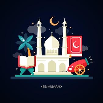 Islamischer feiertag, kultur, traditioneller gruß eid mubarak. kanone, moschee, lampe, heiliges buch, palme