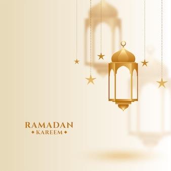 Islamischer gruß des ramadan kareem mit hängender laterne