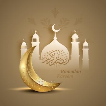 Islamischer gruß ramadan kareem karte mit halbmond und moschee hintergrund