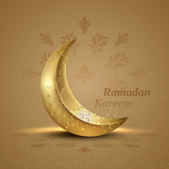 Islamischer gruß ramadan kareem karte mit ornament halbmond