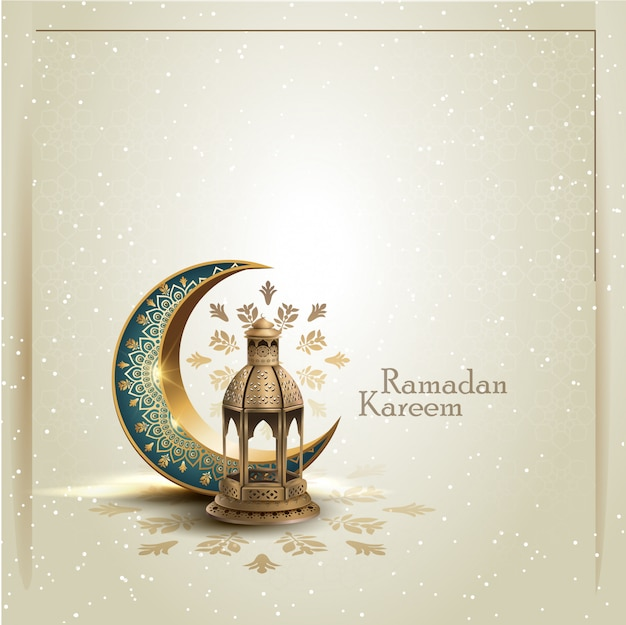 Islamischer gruß ramadan kareem kartendesign mit halbmond und laterne