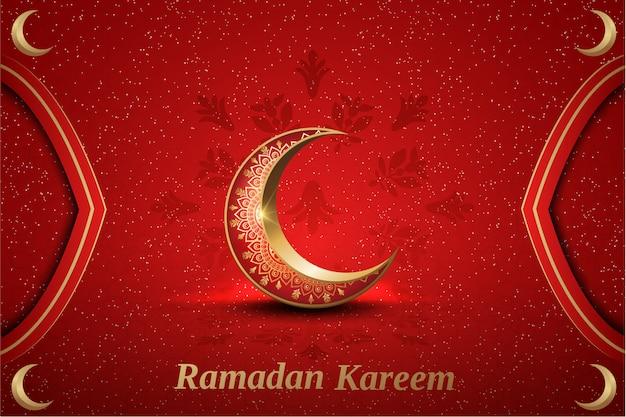Islamischer gruß ramadan-kareem kartendesign mit verzierungshalbmond